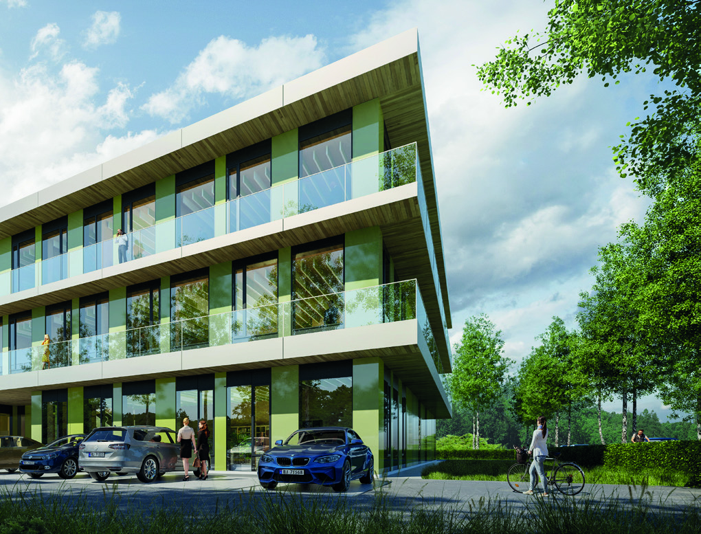 Et kontorprosjekt tegnet for Østfold Eiendomsutvikling AS i Kalnes Næringspark. Illustrasjon: Plusarkitektur AS